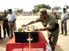 Colonel Sornam, Special Commander of the LTTE, garlanding the body of Lt.Murali.