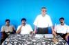 Mr.Thurairatnasingham, parliamentarian speaking , Mr.Elilan, Colonel Sornam, LTTE district commander Vasanthan