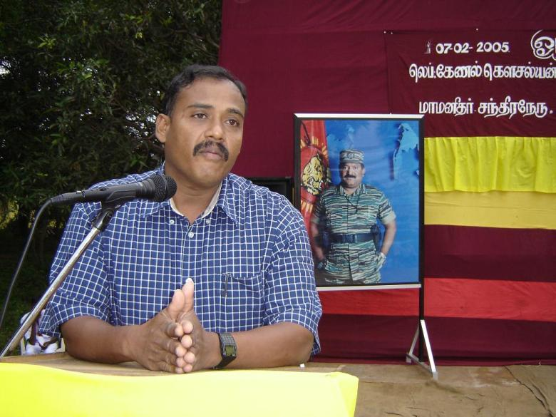 Col. Banu delivering speech