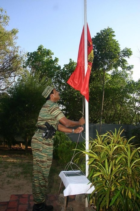 Col.Jeyam hoisting the Tamileelam flag