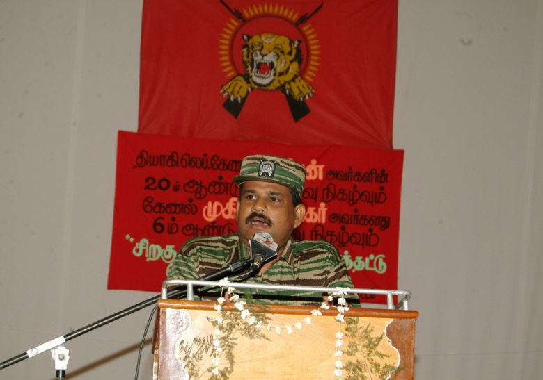 Col Soosai addressing the gathering at Puthukkudityiruppu