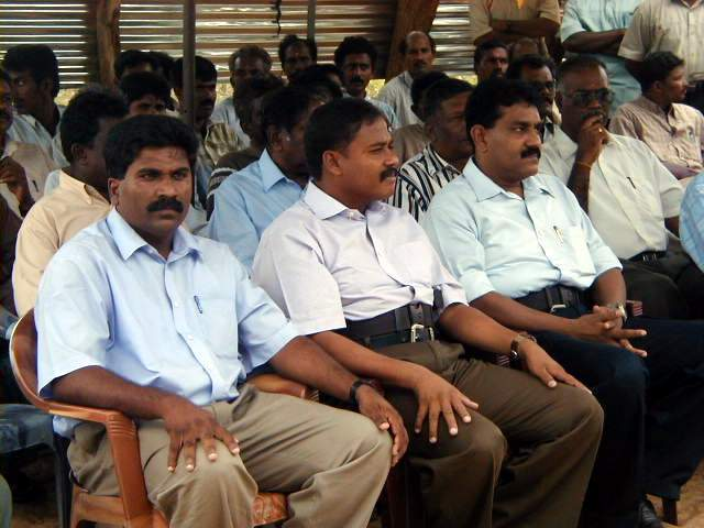 (L-R) LTTE Trincomalee district political head Mr.S.Elilan, Colonel Banu, LTTE Trincomalee district military Commander Sornam
