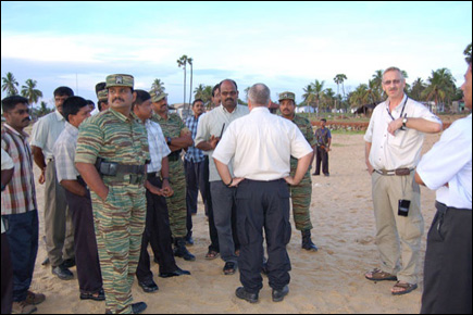 LTTE Sea Tigers Special Commander Col. Soosai talking to SLMM officials at Mullaithivu shore
