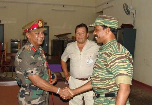 Major General S.H.S. Kottegoda, Eastern Overall Operational Command, Sri Lanka Army, Mr. Hagrup Haukland, Acting Head of SLMM and Col. Ramesh, LTTE's Special Commander for Batticaloa and Ampara