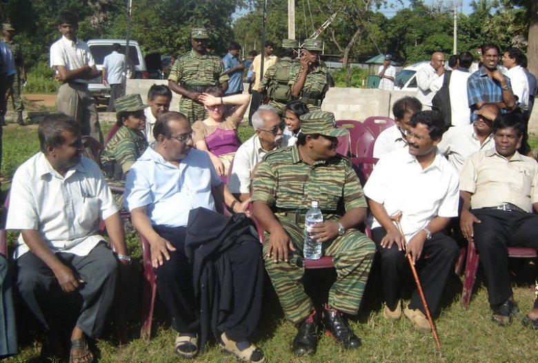 Mr. and Mrs. Anton Balasingham with senior LTTE leaders in Kilinochchi, 23. January 2006 2.