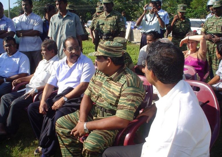 Mr. and Mrs. Anton Balasingham with senior LTTE leaders in Kilinochchi, 23. January 2006.