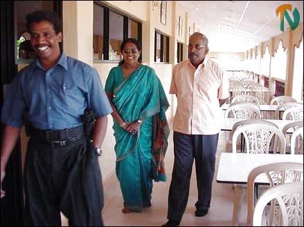Mr. Ramesh receiving Mr. and Mrs. Pararajasingham.