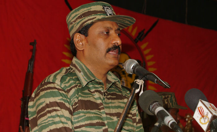 Poddu Ammaan, Head of LTTE Intelligence Wing addressing in the Cultural Hall in Ki'linochchi. charles_06
