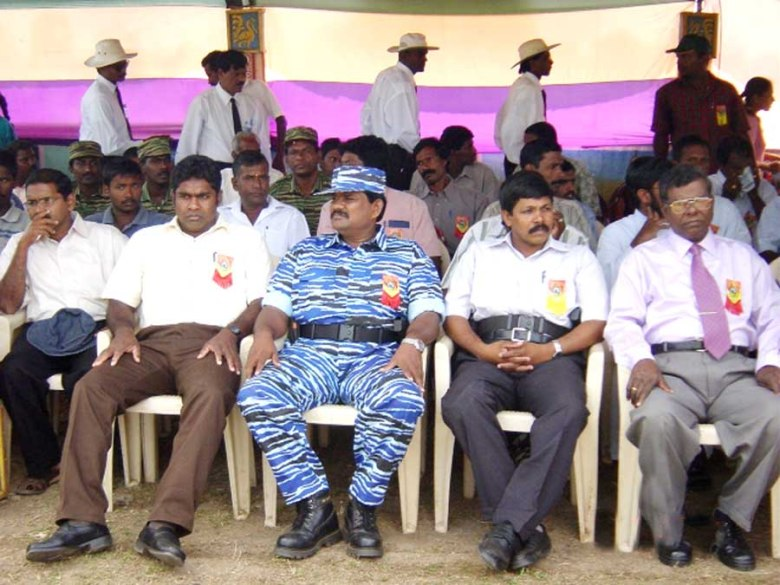 R-L Kilinochchi GA, Head of the VOT, Mr. Thamilanpan and Col. Soosai at the inauguration